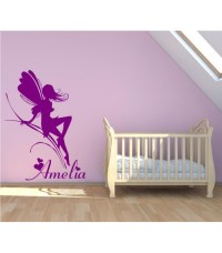 Fairy with a name girl bedroom wall decal, kids bedroom ...
