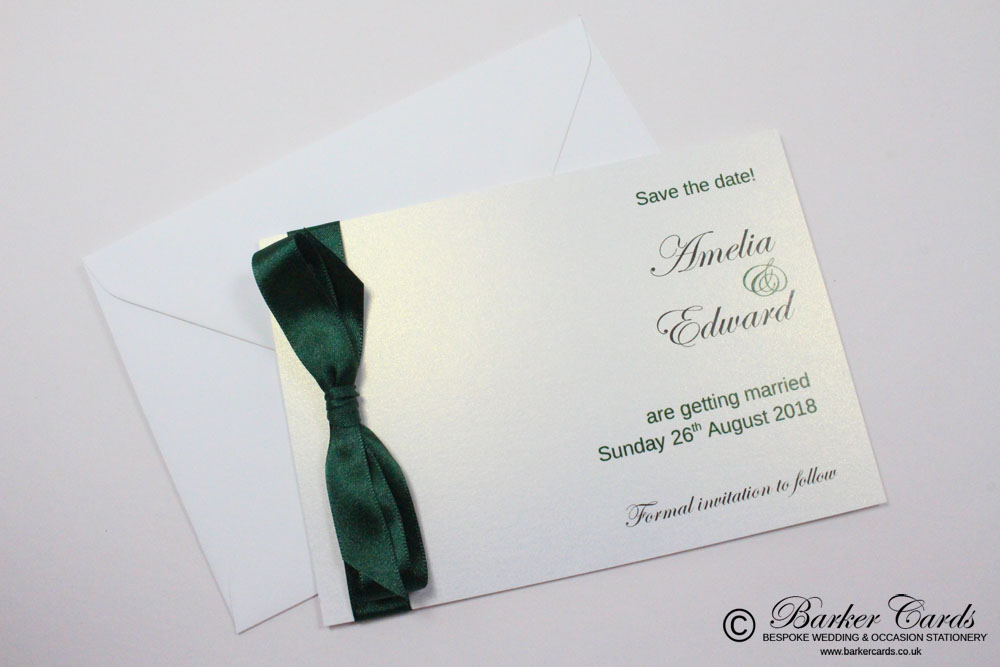 Wedding Save the Date Card - Dark Forest / Christmas Green and White