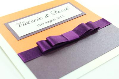 Wedding Invitations Cadbury Purple Burnt Orange White