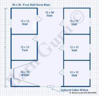 Barn Plans - 4 Stall Horse Barn Plans - Design Floor Plan