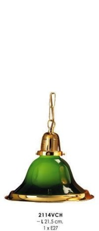 Classic country-style pendant light green / gold, crystal ...