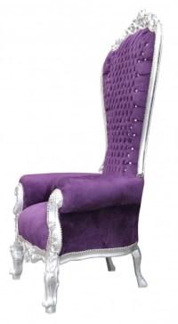 Casa Padrino baroque throne Majestic Purple / silver with ...