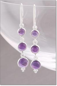 Earrings > Silver Amethyst Drop Earrings at Baronessa