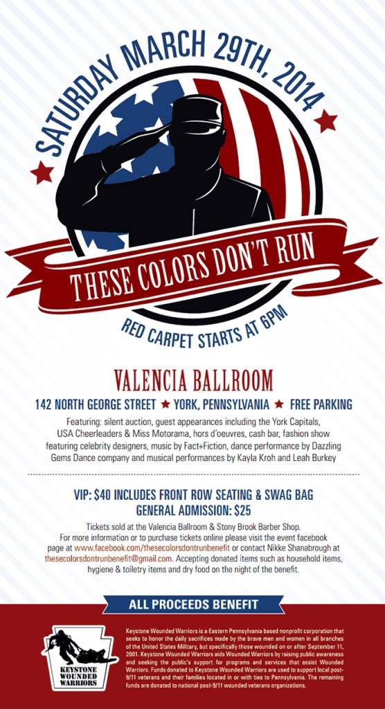 Flyer for the 2014 These Colors Don't Run benefit for The Keystone Wounded Warriors