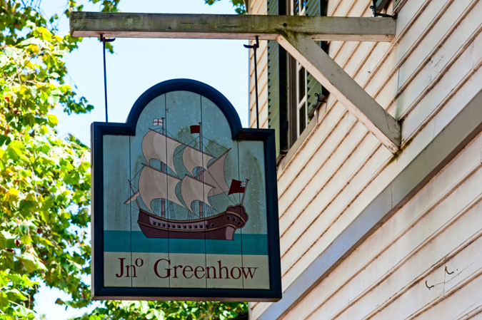 Sign for The Greenhow Store in Colonial Williamsburg