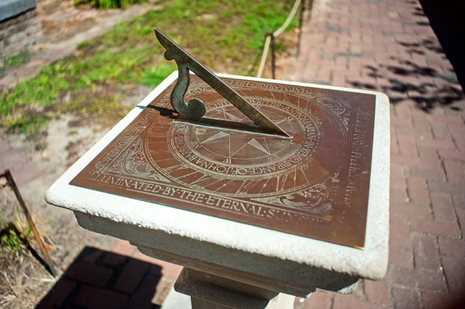 A sundial in the courtyard of Bruton Parish Church in Colonial Williamsburg