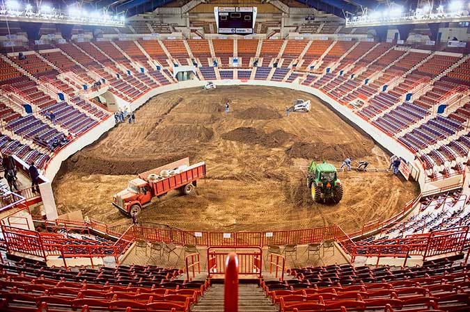 Friday night. Getting the arenacross track ready for Motorama 2014