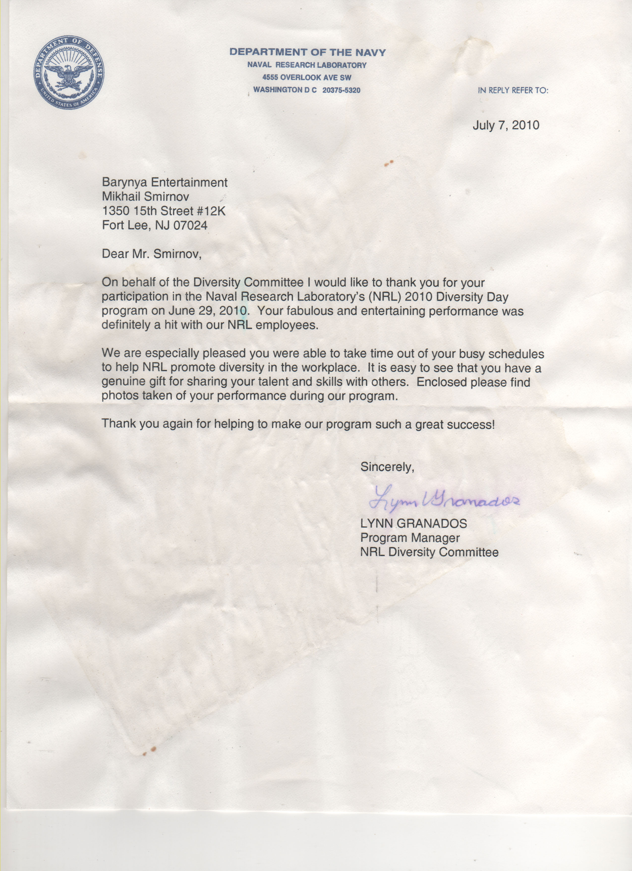 naval academy recommendation letter
