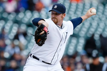 April 25, 2013; Detroit, MI, USA; Detroit Tigers relief pitcher Phil Coke (40) pitches in the ninth inning against the Kansas City Royals at Comerica Park. Kansas City won 8-3 in ten innings. Mandatory Credit: Rick Osentoski-USA TODAY Sports