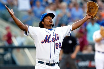 Flushing, New York  7/12/14  Jenrry Mejia #58 of the New York Mets celebrates the save and the Mets win over the Miami Marlins after a baseball game  at CitiField on July 12, 2014(Paul J. Bereswill)