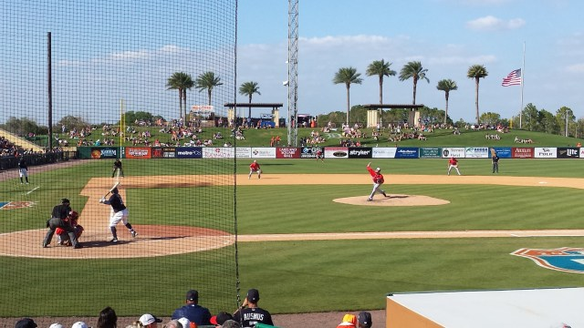 Lucas Giolito delivers a pitch to the Detroit Tigers' Tyler Collins during a Spring Training game in Lakeland, Florida on March 9, 2016 (Author's photo).