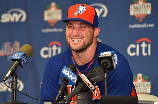 Sep 20, 2016; Port St. Lucie, FL, USA;  New York Mets outfielder Tim Tebow (15) speaks with the media after his workout at the Mets Minor League Complex. Mandatory Credit: Jasen Vinlove-USA TODAY Sports