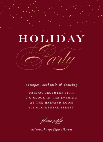 Holiday Party Invitations Match Your Color  Style Free! - Basic