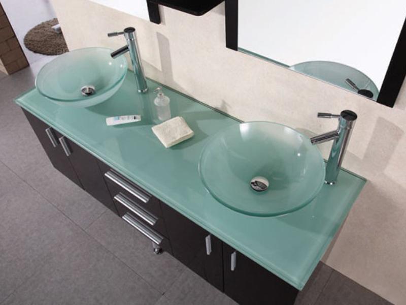 61quot Portland Double Vessel Sink Vanity Glass Top