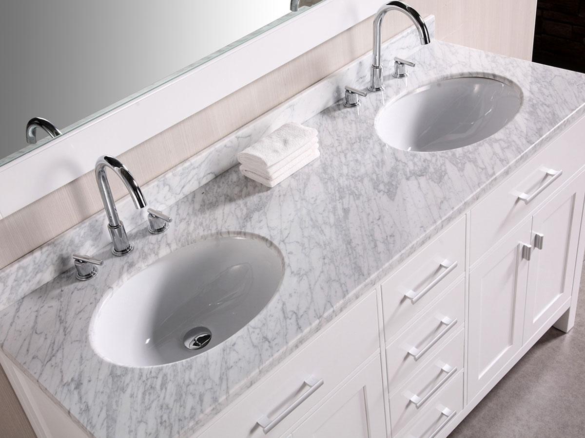 61quot London Double Sink Vanity White Bathgemscom
