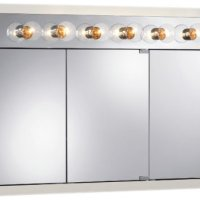 Jensen 755387 Granville Lighted Medicine Cabinet with Six Bulbs, Classic White, 48-Inch by 30-Inch by 4-3/4-Inch
