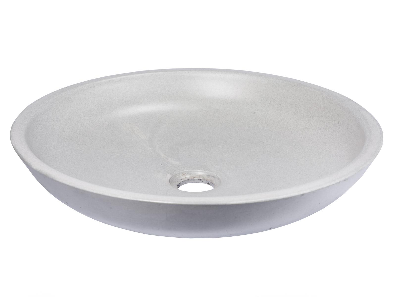 Eden Bath 16 In Concrete Shallow Round Vessel Sink Light
