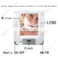 Bathroom Hidden Camera Fogless Shower Stereo Radio with