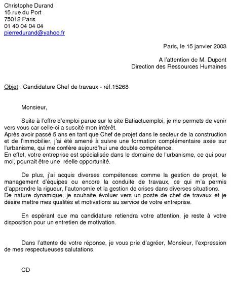 Exemple de lettre de motivation - modele lettre de motivation