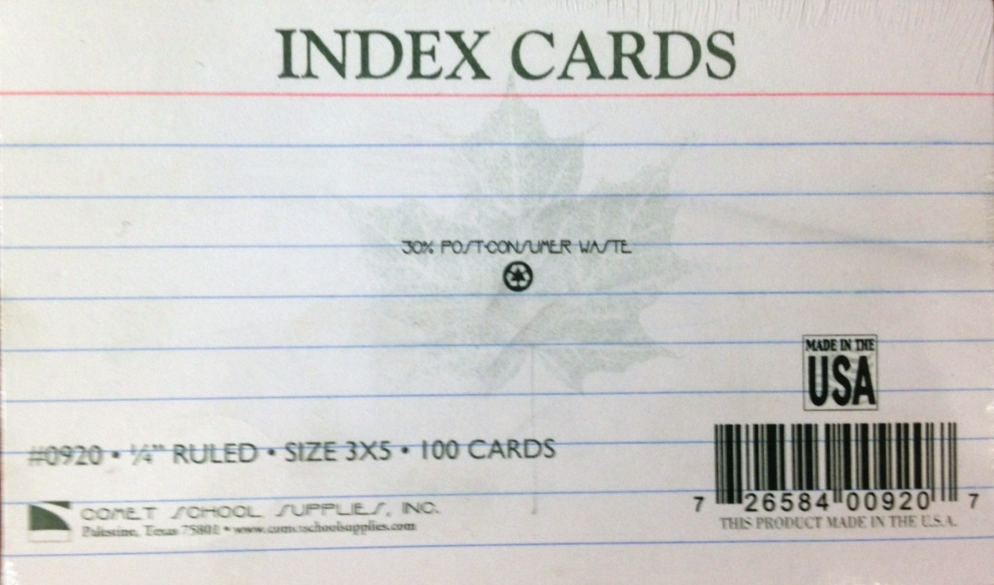 Index Cards - Ruled 3x5 171 - Baton Rouge Community College Bookstore