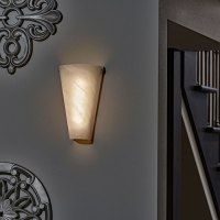Battery Powered Wall Sconce Frosted Marble Conical Shade ...