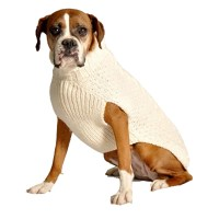 Handmade Cable Knit Wool Dog Sweater - Natural | BaxterBoo