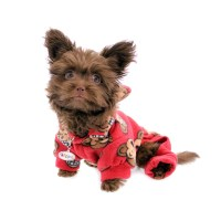 Silly Monkey Fleece Hooded Dog Pajamas by Klippo - Red ...
