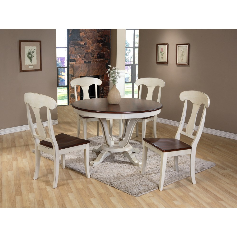 Baxton Studio Napoleon Chic Country Cottage Antique Oak Wood and Distressed White 5 Piece Dining Set with 48 Inch Round white distressed kitchen table Baxton Studio Napoleon Chic Country Cottage Antique Oak Wood and Distressed White 5 Piece Dining