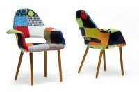 Forza Patchwork Mid-Century Style Accent Chair ...