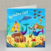 Mermaid - Under The Sea - Birthday Card