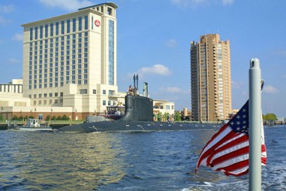 A Navy submarine in the Elizabeth River, Portsmouth Va.
