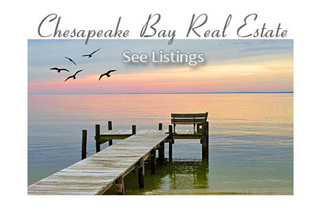 Photo of a dock on the Bay. Text says Chesapeake Bay Real Estate, See Listings