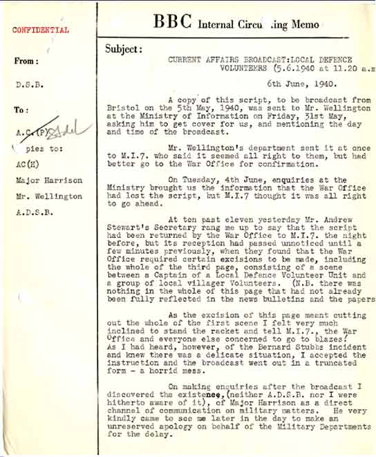 BBC - Archive - WWII Dunkirk Evacuation - BBC Memo About