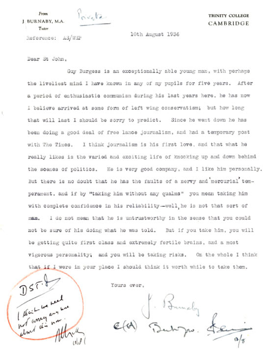 BBC - Archive - Guy Burgess at the BBC - A letter of reference for