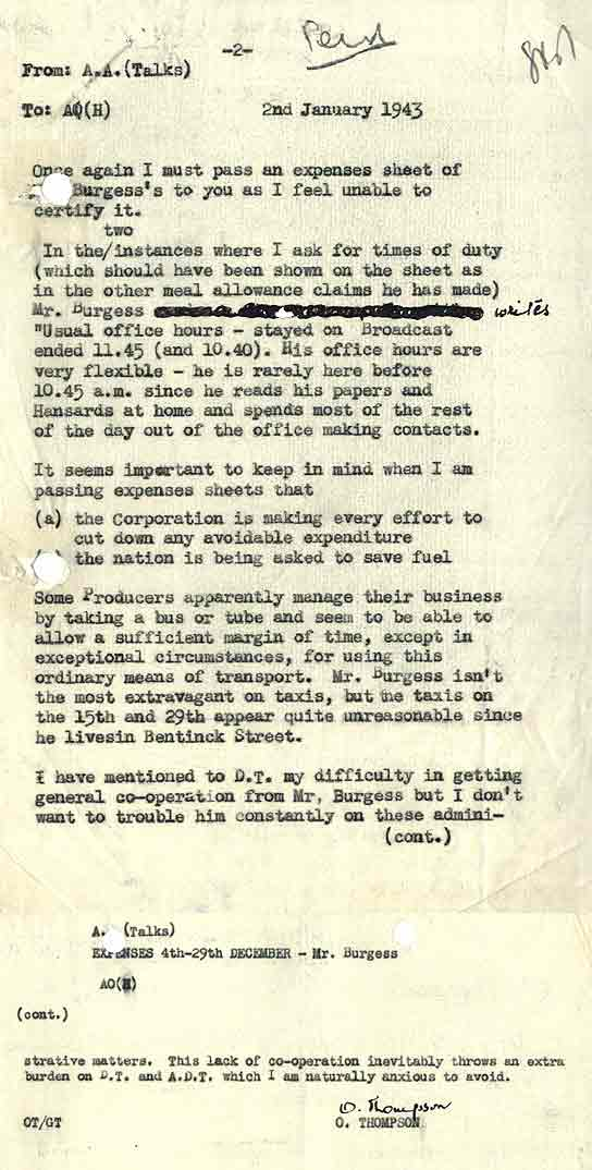 BBC - Archive - Guy Burgess at the BBC - Internal memo querying a