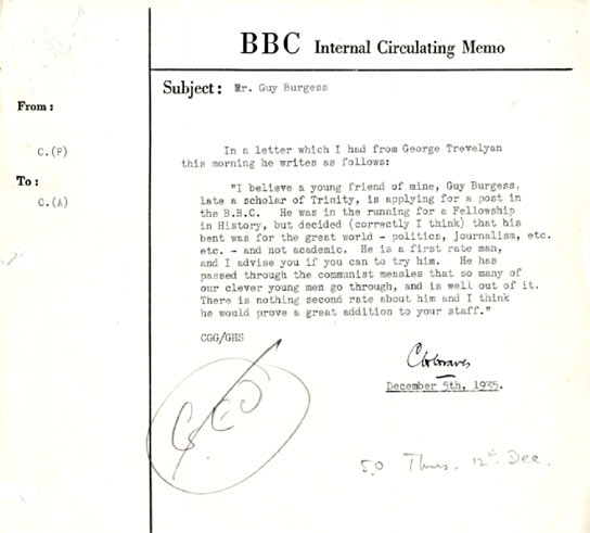 BBC - Archive - Guy Burgess at the BBC - Memo quoting a