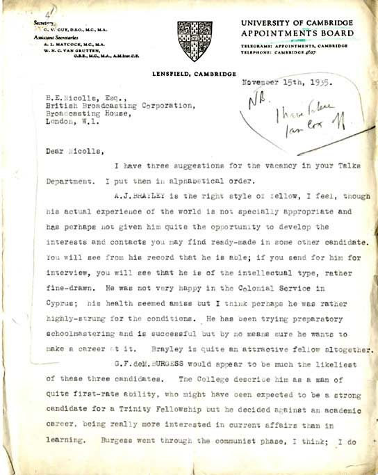 BBC - Archive - Guy Burgess at the BBC - Letter of recommendation