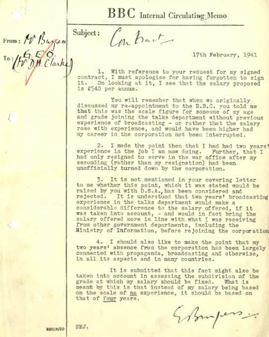 BBC - Archive - Guy Burgess at the BBC - Memo from Burgess querying - how to sign a memo