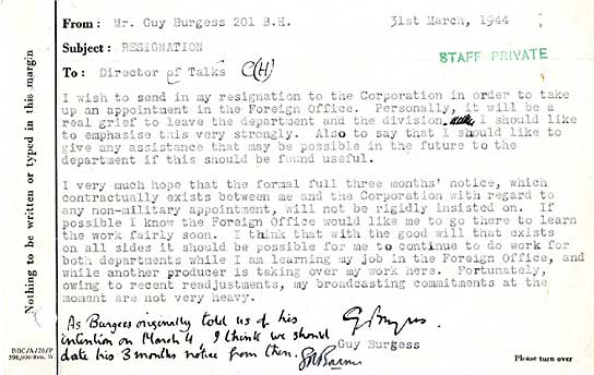 BBC - Archive - Guy Burgess at the BBC - Resignation memo from Burgess