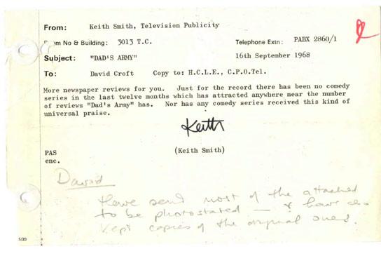 BBC - Archive - Dadu0027s Army at 40 - BBC Publicity Memo on u0027Dadu0027s Armyu0027 - army memo
