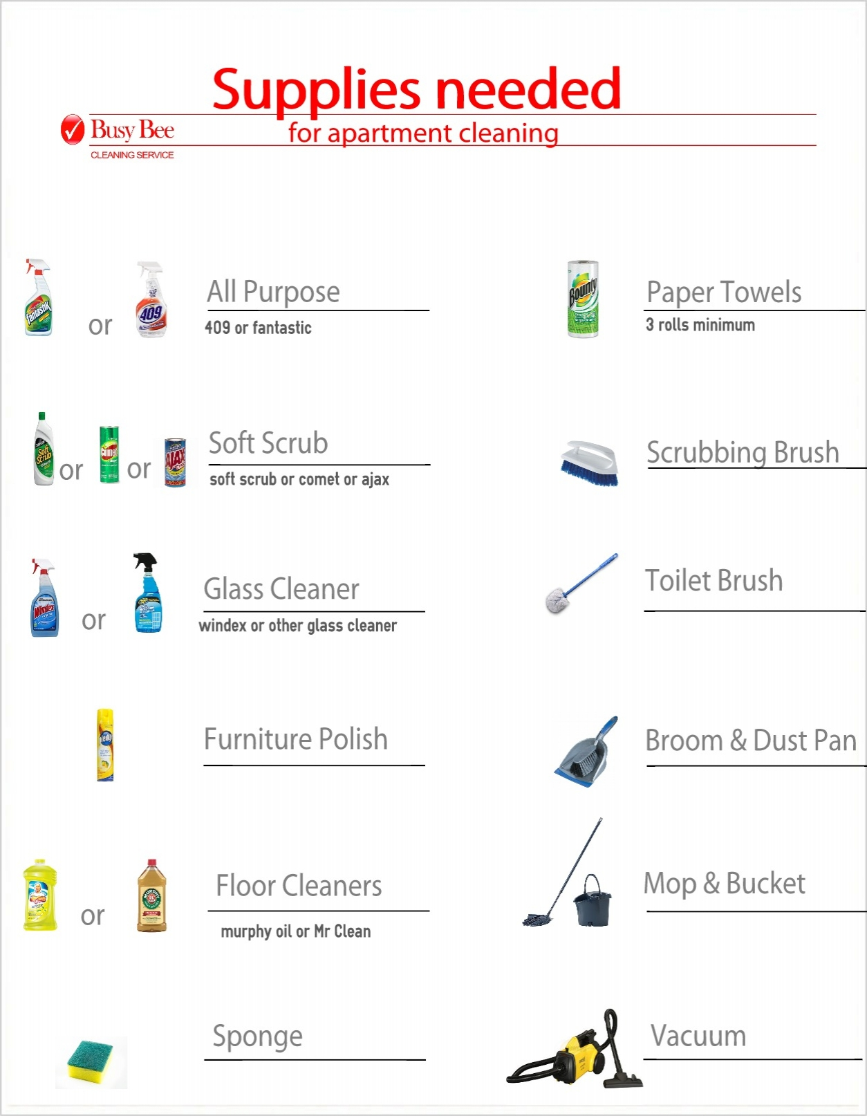 price list for house cleaning