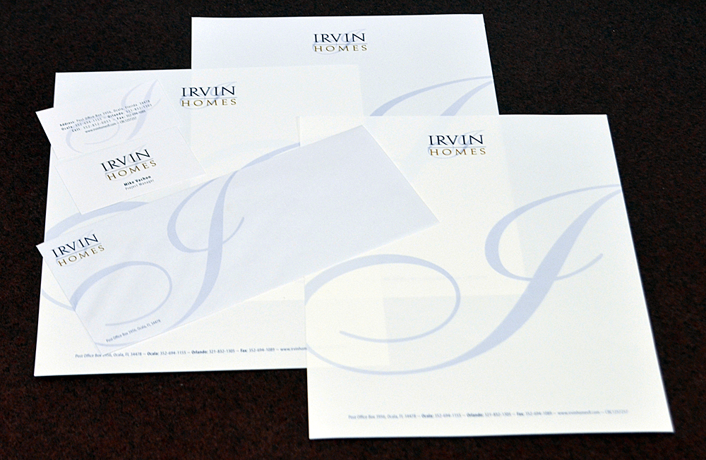 Irvin Homes Letterhead, Envelopes, and Business Cards BB Graphics