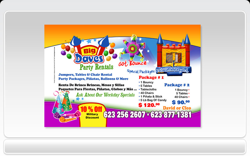 Business Cards Pronto! - Big Daves Party Rentals
