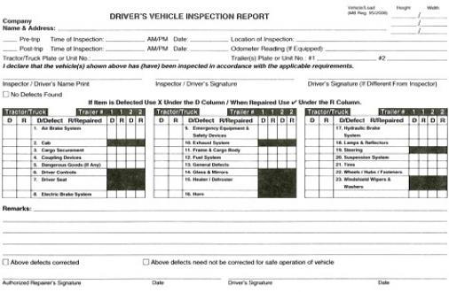 Log/Trip Inspection Books BCTA - trip log sheet