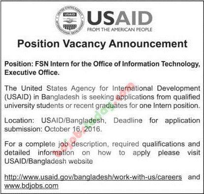 USAID, \ - information technology intern job description