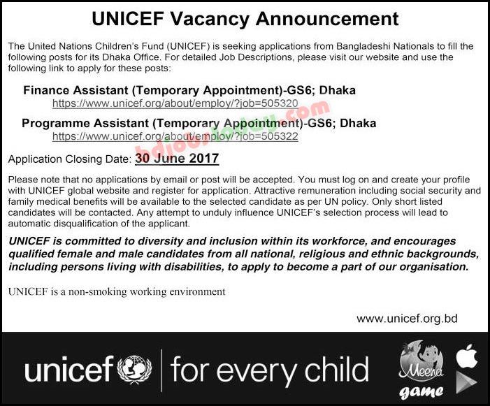 UNICEF Bangladesh, \ - financial assistant job description