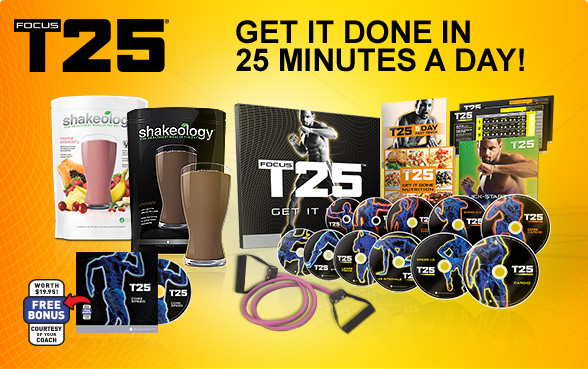 What is FOCUS T25? FOCUS T25 is an In-home workouts designed to deliver an hour's results in just 25 minutes a day. The latest creation by fitness expert and former track star Shaun T—who brought the world INSANITY®.5/5.