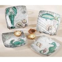 Coastal Ceramic Dessert Plates (set of 4)