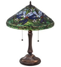 "Medya Tiffany 24""H Tiffany Flying Dragonfly Table Lamp"