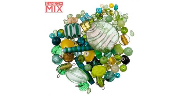 Greens And Yellows Glass Acrylic Metal Beads 100g Mix